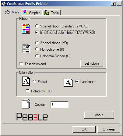 Свойства карт-принтера Evolis Pebble